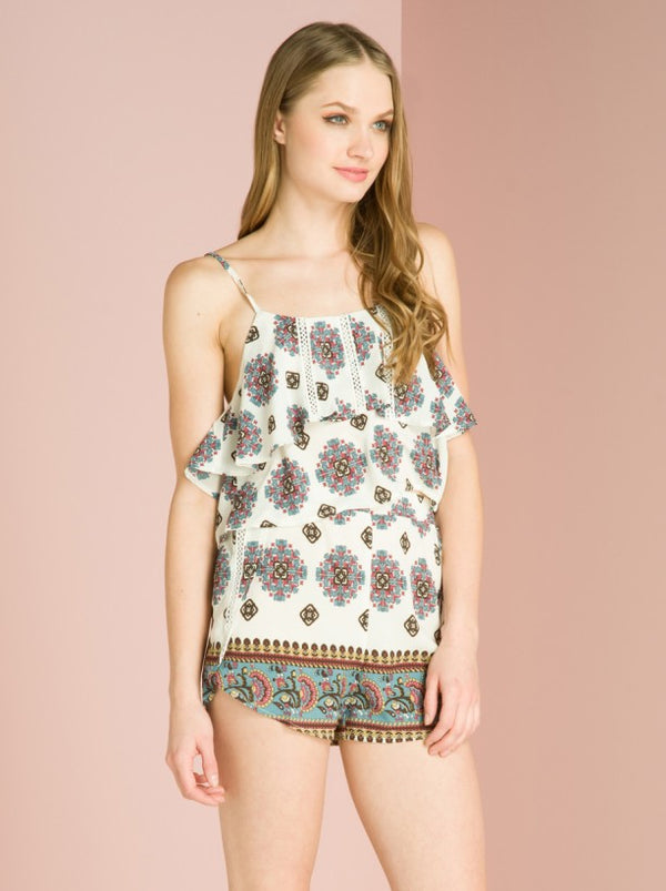 Paisley Print Shorts in Cream