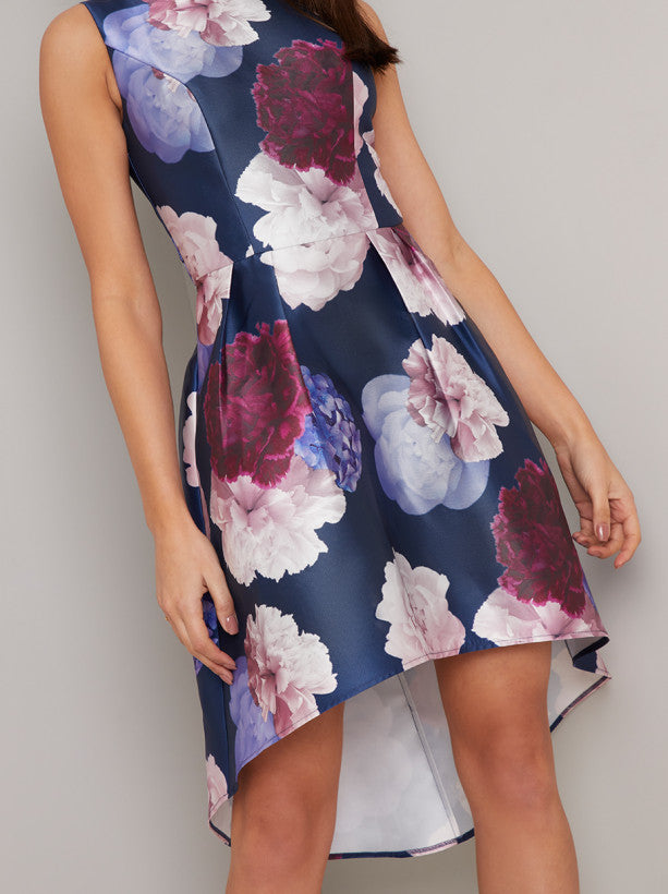 Floral Print Dip Hem Mini Dress in Blue