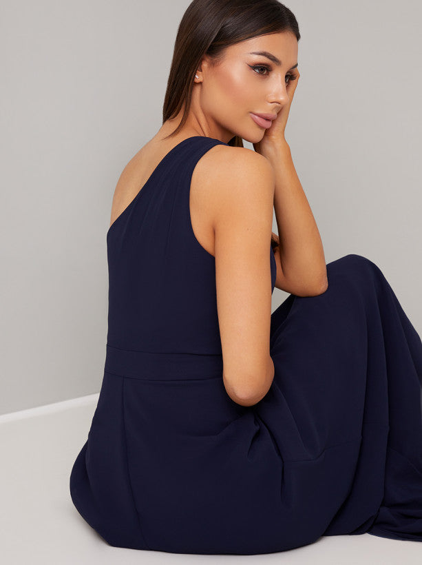 One Shoulder Maxi Dress in Blue
