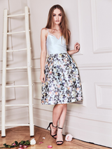 Cami Strap Floral Skirt Midi Dress in Blue