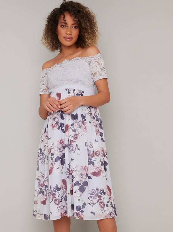 Lace Floral Print Maternity Midi Dress in Purple