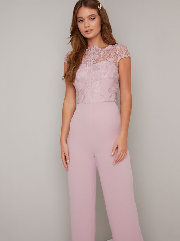 Embroidered Jumpsuit with Wide Leg Trousers in Pink
