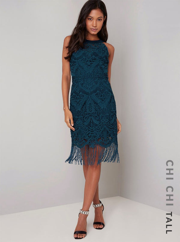 Tall Lace Bodycon Tassel Dress in Teal