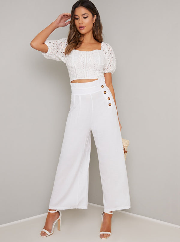 Broderie Angalise Crop Puff Sleeve Top in White