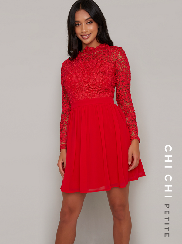 Petite Crochet Mini Dress with Fitted Bodice in Red