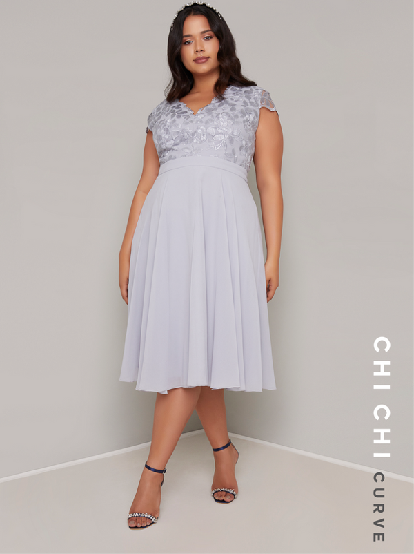 Plus Size Embroidered Lace Bodice Midi Dress in Blue