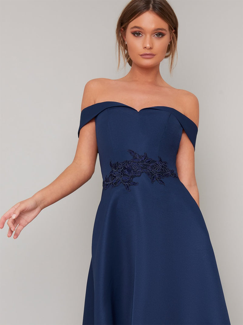 Bardot Dip Hem Lace Midi Dress in Blue