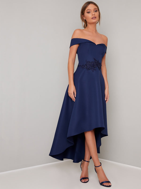 Bardot Dip Hem Lace Midi Dress in Navy