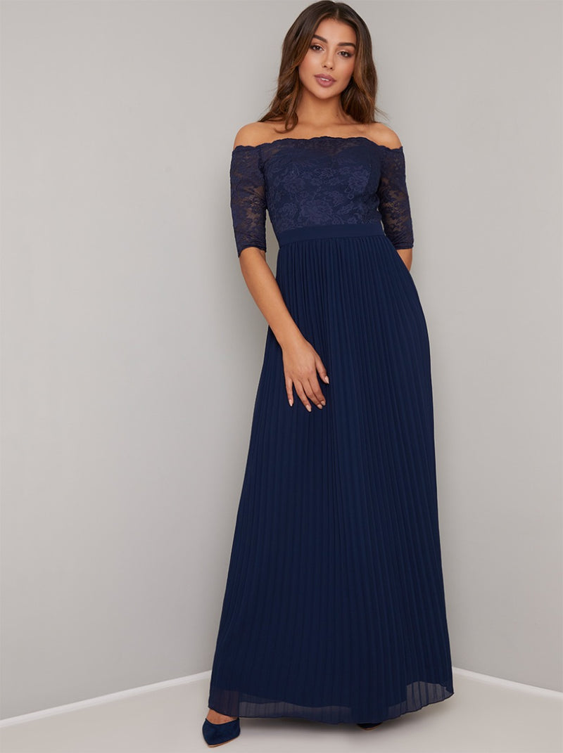 Bardot Neckline Lace Pleated Maxi Dress in Blue