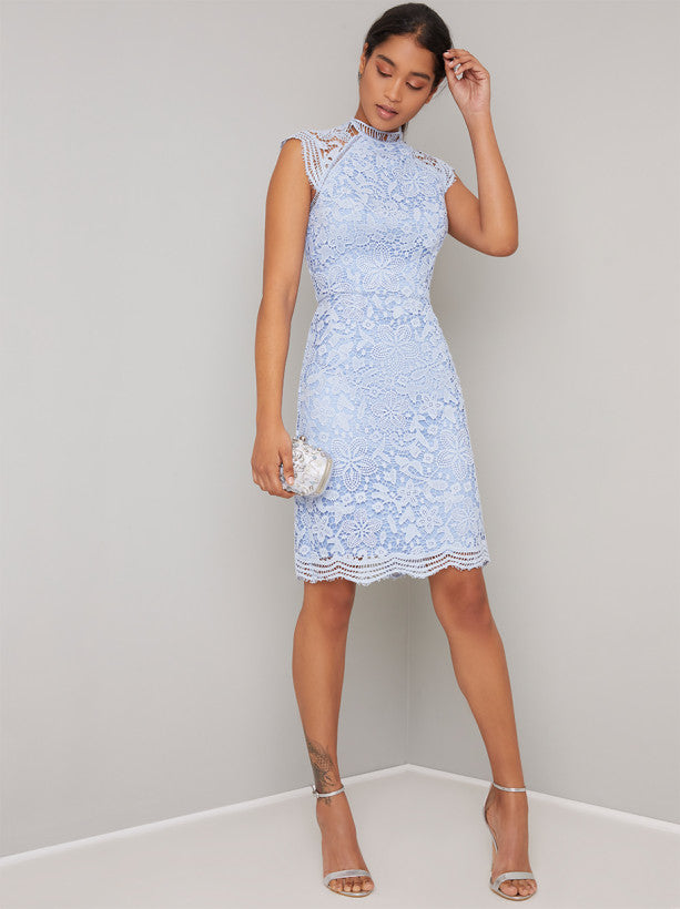 High Neck Crochet Lace Design Bodycon Dress in Blue