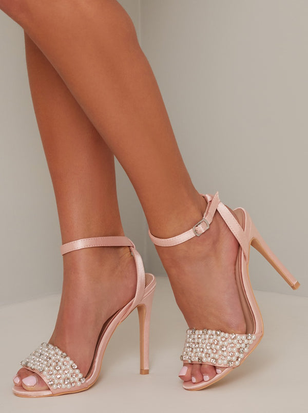High Heel Embellished Sandal in Pink