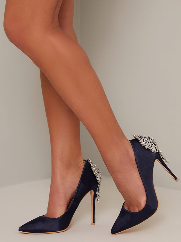 High Heel Embellished Court Shoe in Blue