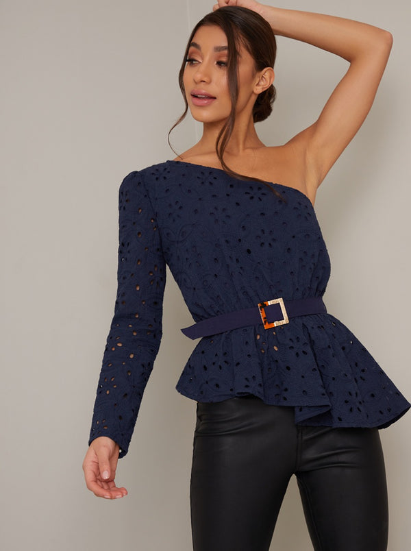 One Shoulder Lace Peplum Top in Blue