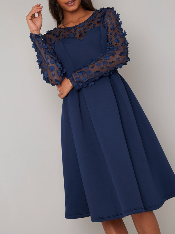 Long Sheer Sleeved Midi Dress in Blue