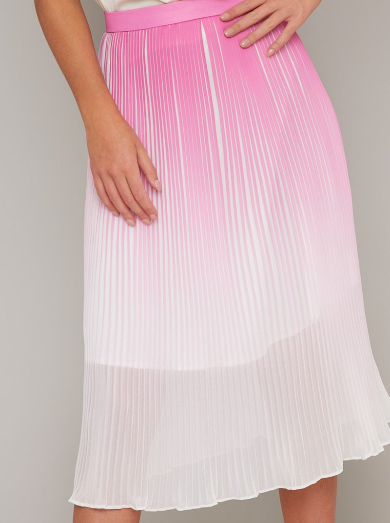 Ombre Pleat Midi Skirt in Pink