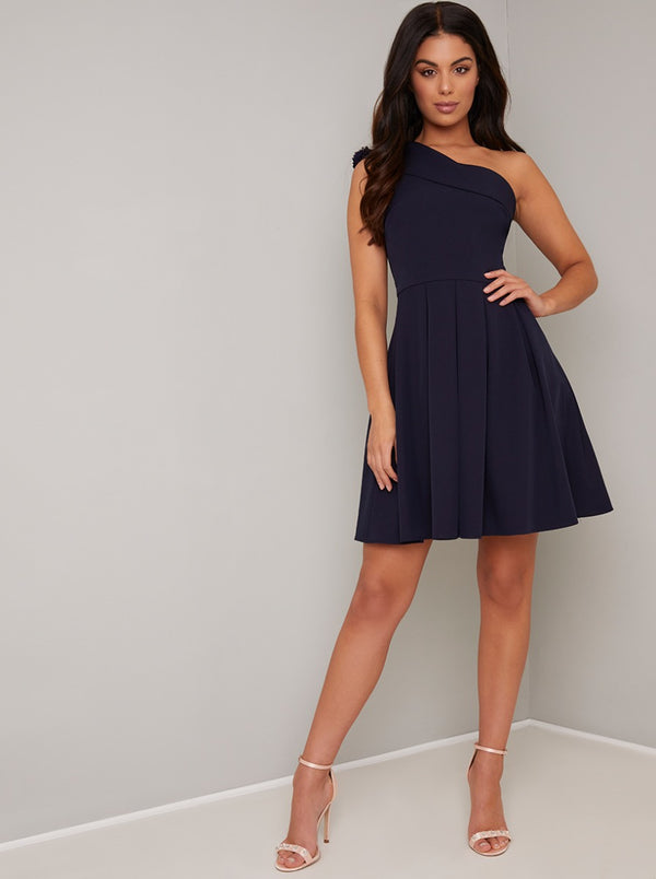 One Shoulder Box Pleat Mini Dress in Blue