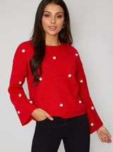 Fluted Long Sleeved Pearl Jumper in Red