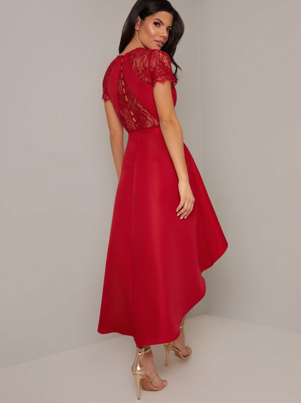 Lace Bodice Sweetheart Neck Dip Hem Midi Dress in Red