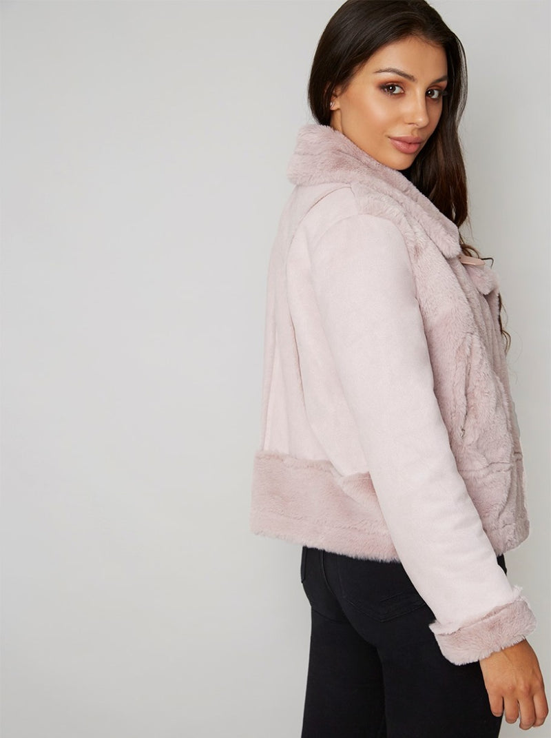Faux Fur Aviator Jacket in Pink