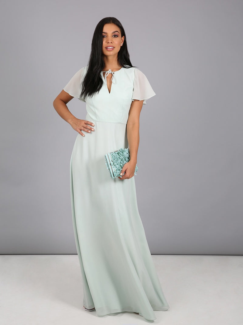 Angel Sleeved Tie Maxi Dress in Green