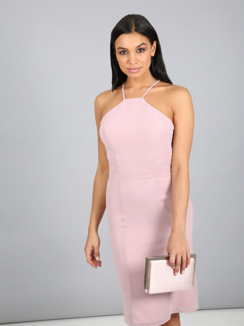 Tall Sheer Lace Back Midi Dress in Pink