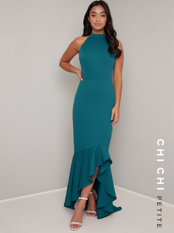 Petite High Neck Fishtail Bodycon Maxi Dress in Green