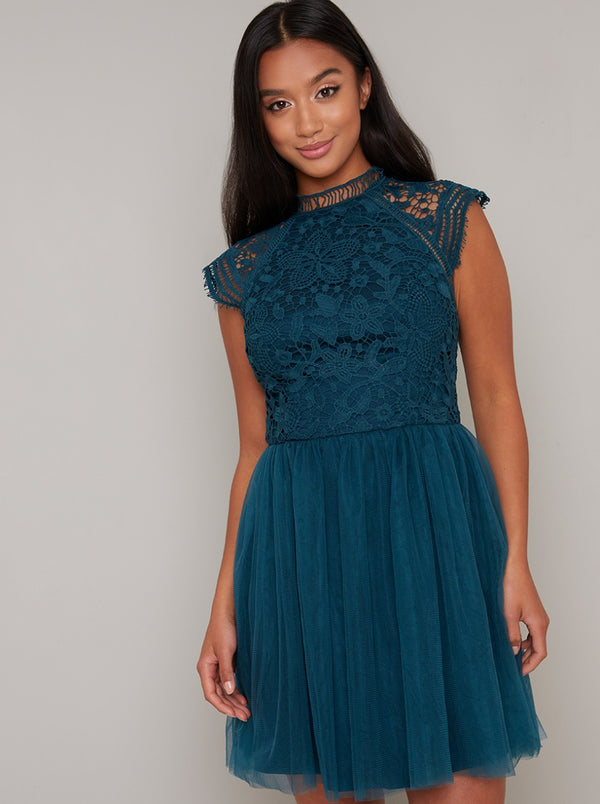 Petite Crochet Lace Tulle Mini Dress in Green
