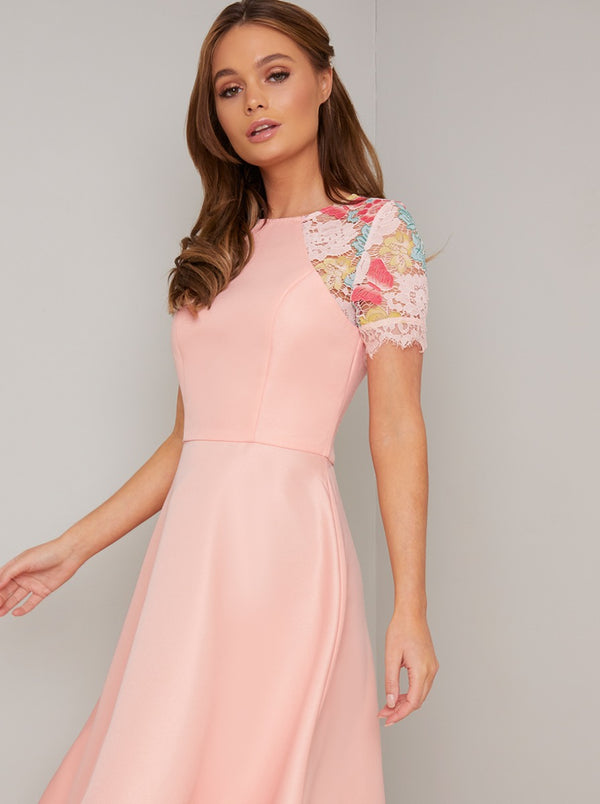Lace Detailed Dip Hem Dress with Fitted Bodice in Pink