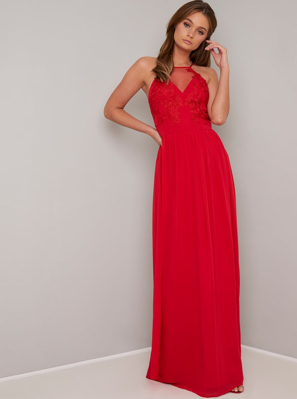 Embroidered Bodice Maxi Dress in Red