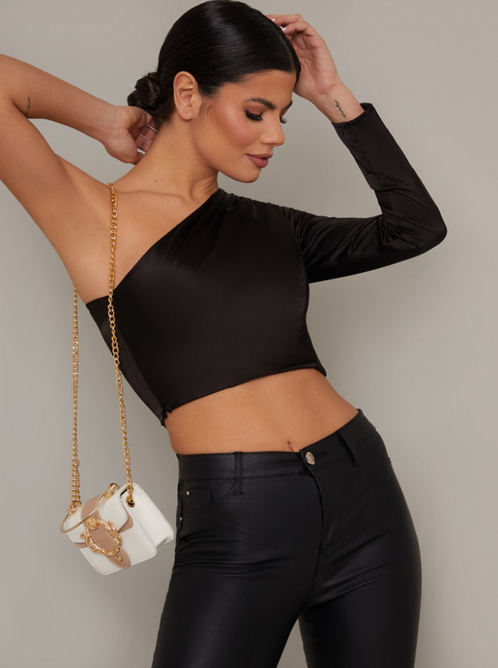 Satin One Shoulder Crop Top in Black