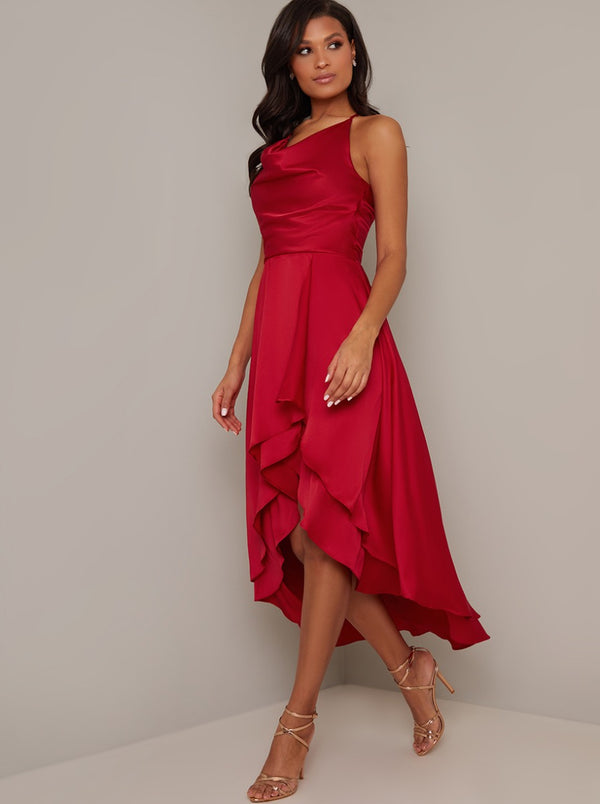 Halter Cowl Neck Tiered Silky Dip Hem Midi Dress in Red