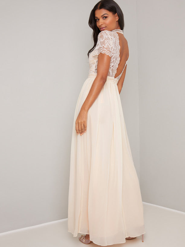 Vintage Lace Style Chiffon Maxi Dress in Cream