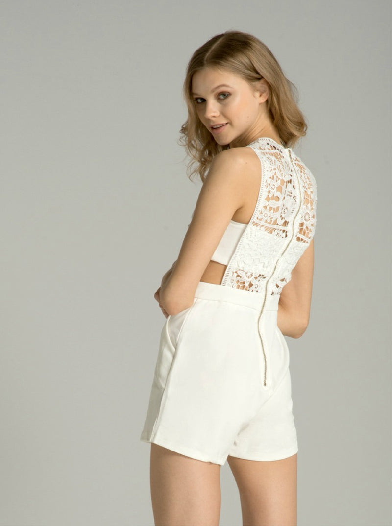 Floral Lace Cut-Out Detail Playsuit in White