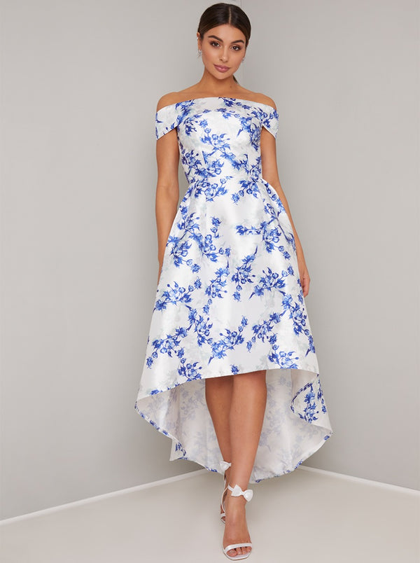 Bardot Neckline Floral Midi Dip Hem Dress in White