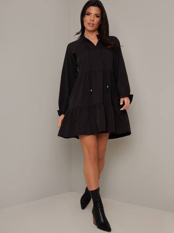 Tiered Smock Long Sleeved Casual Mini Dress in Black