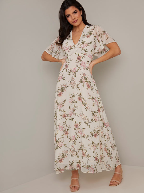 V Neck Short Sleeved Print Midi Dress in White