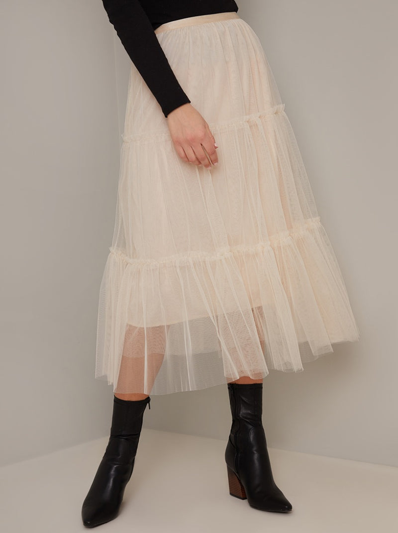Tiered Design Tulle Midi Skirt in Cream