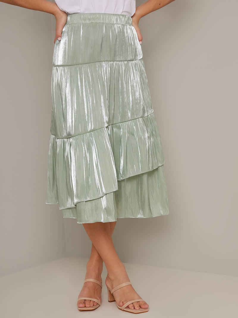 Tiered Midi Skirt in Green