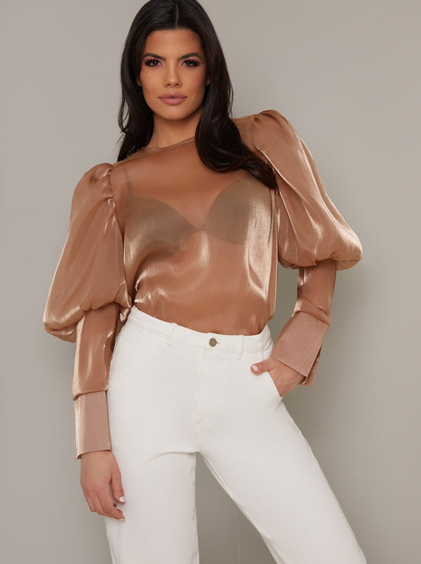 Balloon Sleeve Sheer Blouse Top in Brown