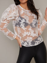 Sheer Jacquard Balloon Sleeve Top in White