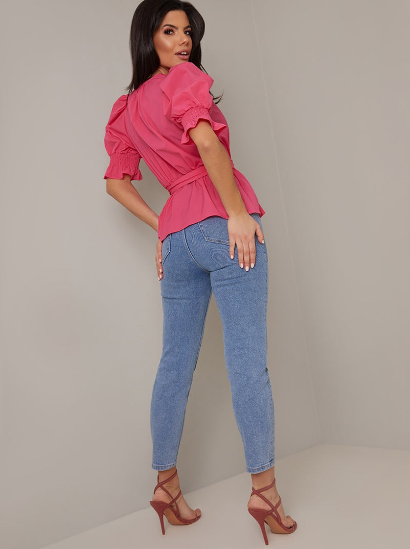 Buckle Detail Wrap Top in Fuschia