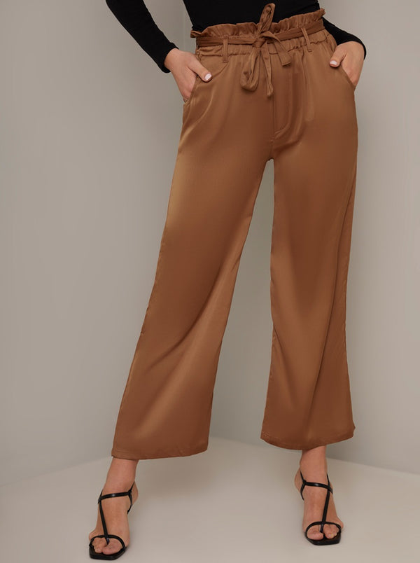 Cropped Satin Straight Leg Trousers in Brown
