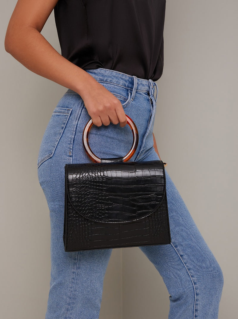Croc Tortoiseshell Grab Handle Handbag in Black
