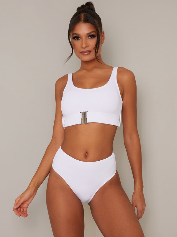 High Rise Bikini Bottoms in White