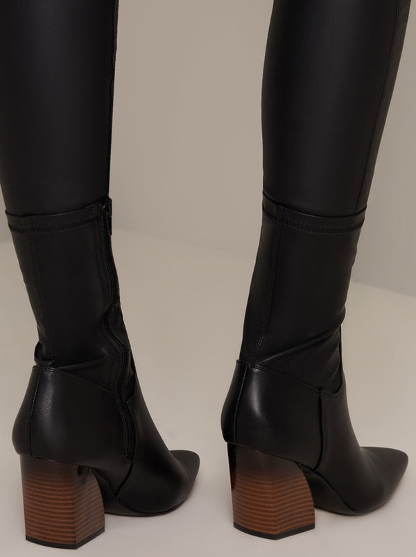Ankle Zip Boots with Block Heel in Black