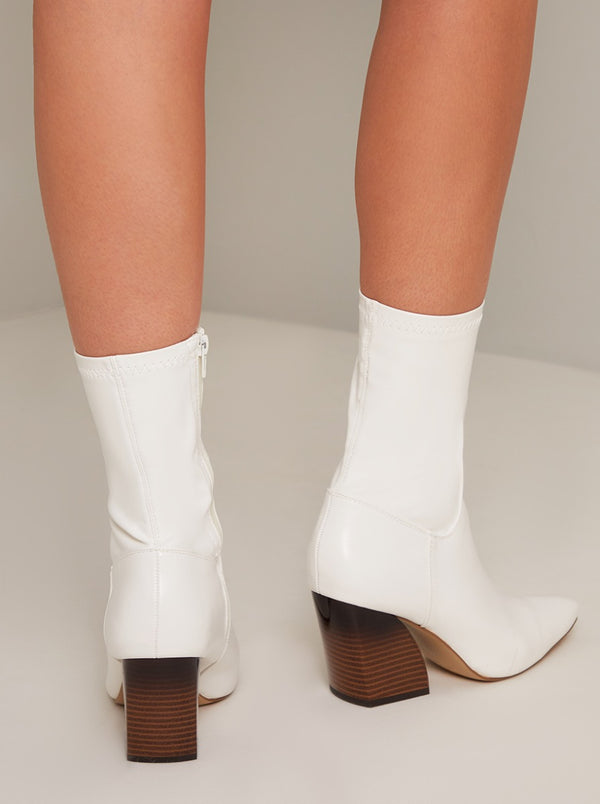 Western Style Block Heel Ankle Boots in White