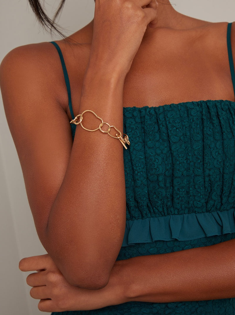 Chain Link Bracelet in Gold Finish