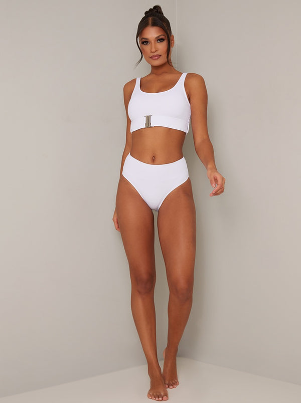 Buckle Detail Bikini Top in White