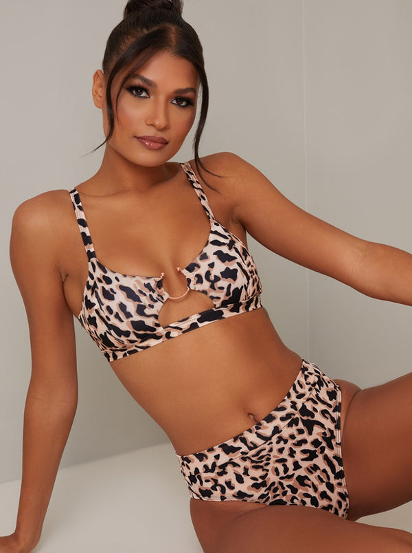 High Rise Animal Print Bikini Bottoms in Brown