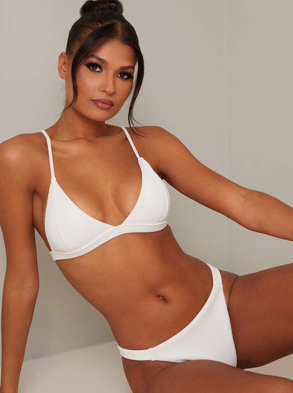 Triangle Cups Bikini Top in White